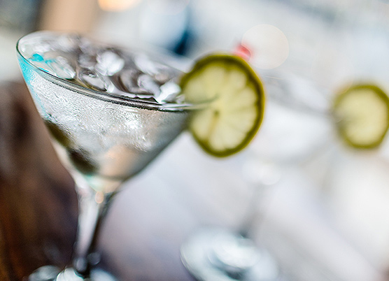 martini with a lime
