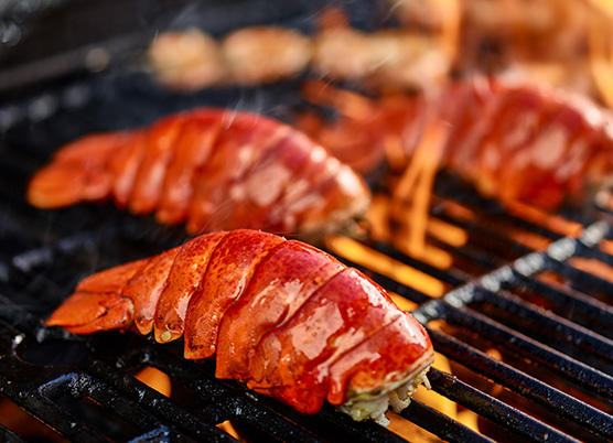 lobsters on a hot grill