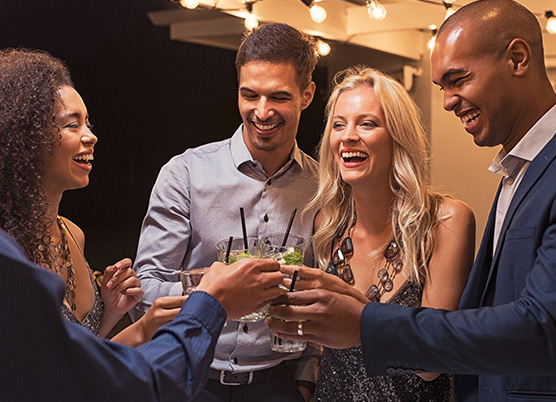 couple having drinks at a party