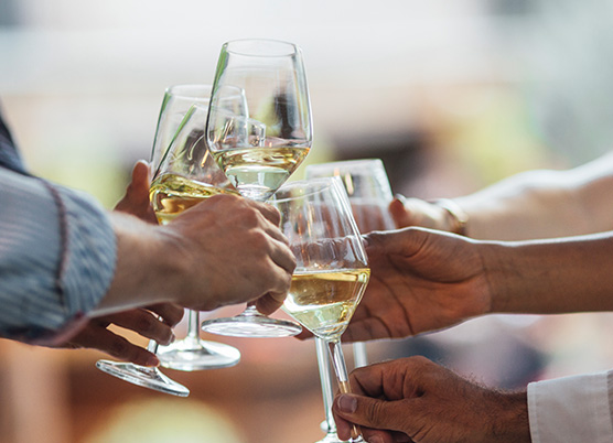 woman and men clinking white wine glasses together