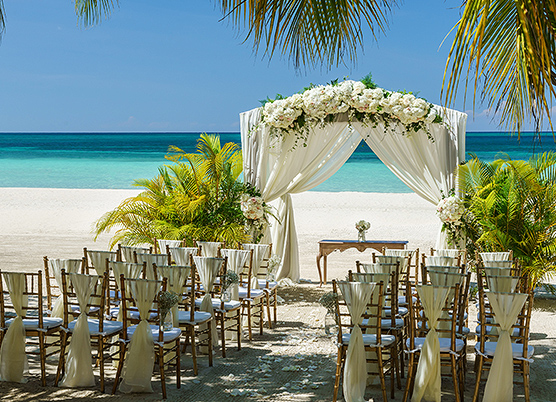 wedding ceremony set up on the beach
