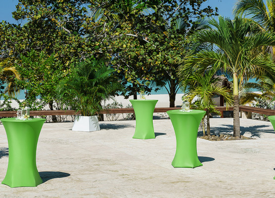 green cocktail tables on a concrete terrace  with palm trees blocking a view of the ocean