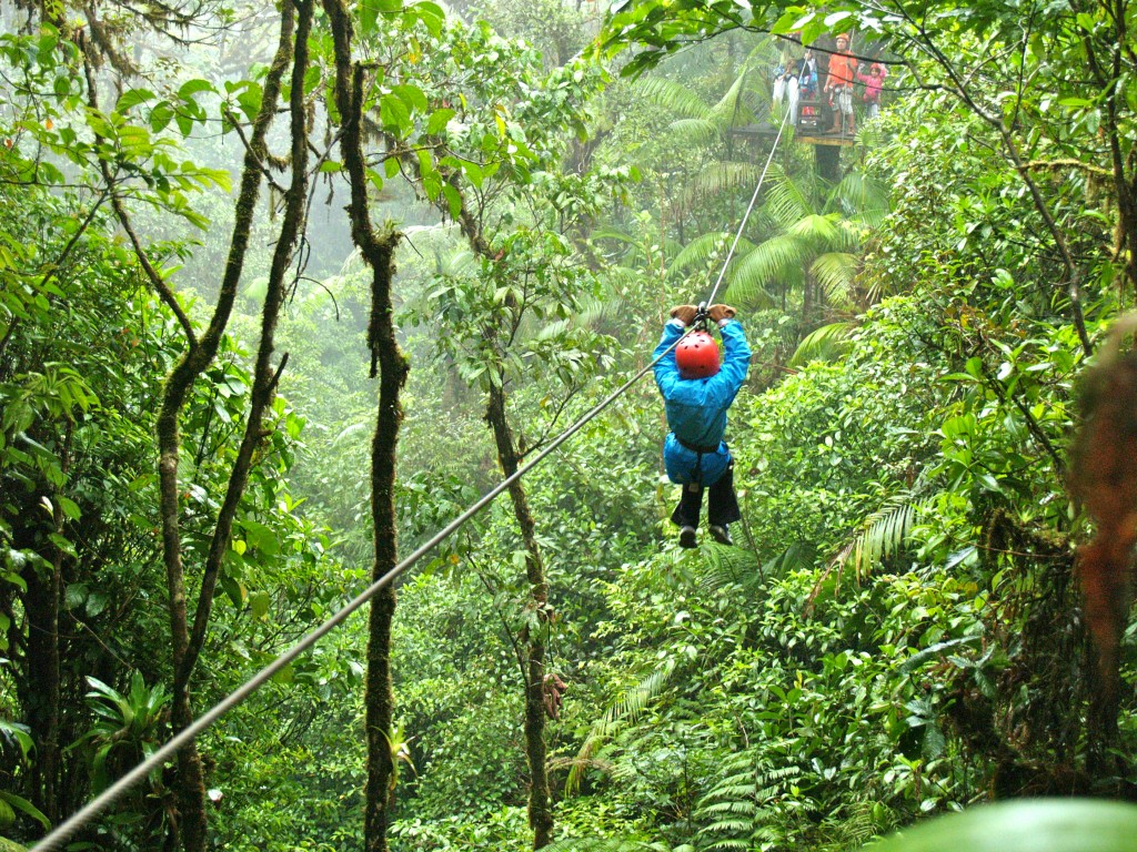 Zip lining on Mystic Mountain Jamaica