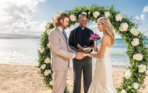 Sunset Beach Wedding, Couples Sans Souci