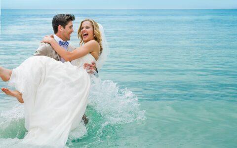 Sunset Beach Wedding, Couples Sans Souci