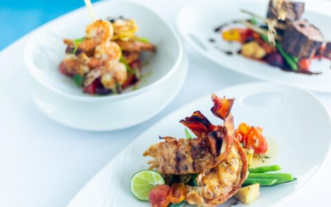 three elegant seafood plated meals